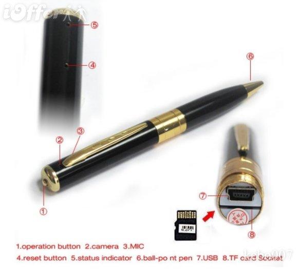 Шариковая ручка со встроенной видеокамерой 1.2Мп, 1280x960 (USB, слот для TF microSD карты)
