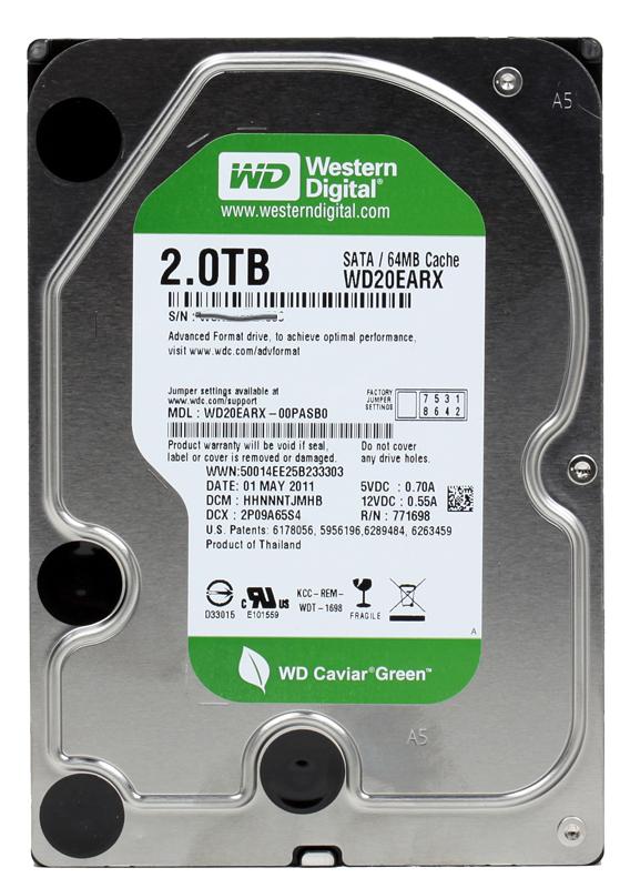 Жесткий диск 3.5 SATA III 2TB 5400rpm 64МB Western Digital Caviar Green